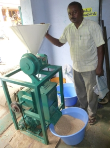 A centrifugal millet huller