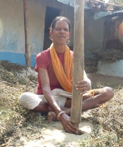 millet pounding setup in an adivasi family